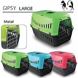 Transportín Gipsy 60–Accesorio de viaje, Transportín perro–Puerta de metal–para perros y gatos (58x 38x 38)