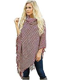 bc9e76ad5f09 Pulls Col Haut Femme Châle Pullover Cape à Franges Grande Taille Rayure  Section Moyenne et Longue