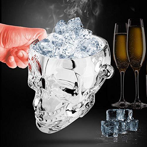 Velliceasay Bar Transparenter Schädel Acryl Eiskübel Wein Eiskübel KTV Ice Clip für Party - Bier, Wein, Champagner, Prosecco Getränkekühler (Champagner Led Gläser)