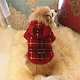 SamMoSon Vestiti dell'animale Domestico del Cane, Felpa Calda con Cappuccio | Puppy Coat Apparel - Maglione per Animali con Cappuccio (Rosso, M)