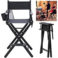 Popamazing Heavy Duty Folding Telescope Makeup Telescopic Artist Director Chair Wood Foldable with side bags