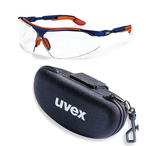 uvex Schutzbrille i-vo klar blau-orange kratzfest-beschlagfrei im Set inkl. Brillenetui,...