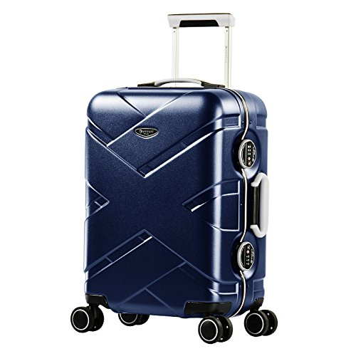 Eminent Koffer Gold Crossover 54 cm 39 L Aluminiumrahmen 4 Leise Doppelrollen TSA Schloss Blau/Grau