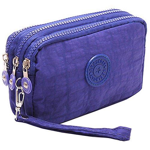SZTARA Multifunction Three Layer Zipper Closure Insert Handbag Sport Portable Organiser Purse Cash Key Phone Bag Blue