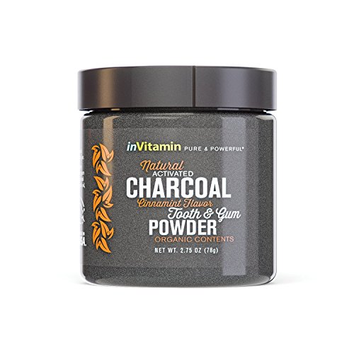 Natural Whitening Tooth & Gum Powder with Activated Charcoal, 2.75oz - Cinnamint Flavor (Prime) by inVitamin