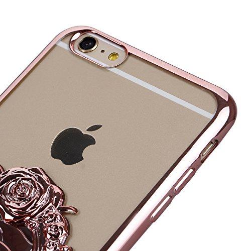 Ukayfe iPhone 6/6S plus 5.5 Copertura, Moda Confine di Placcatura Design di Bling Custodia Bumper Ultra Slim Morbido Soft TPU Gel Silicone Elegante Trasparente Flessibile Antiurto Cassa Protettivo Ski Rose Gold 3#
