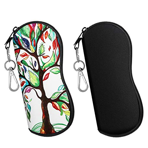 MoKo Brillenetui - [Ultra Lightweight] 2 Stück Neopren Reißverschluss Sonnenbrille Tasche mit Gürtelclip für Brillen, Rahmen, Tragbare Case für Schlüssel, Bleistifte, Karten - Schwarz + Glück Baum