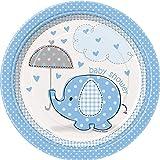 18cm, blau Elefant Baby Dusche Party Teller, 8Stück