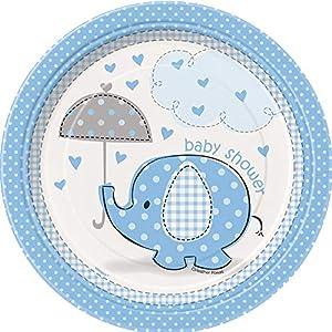 Unique Party- Platos de Papel Baby Shower con Elefante, 8 Unidades, Color azul, 18 cm (41694)