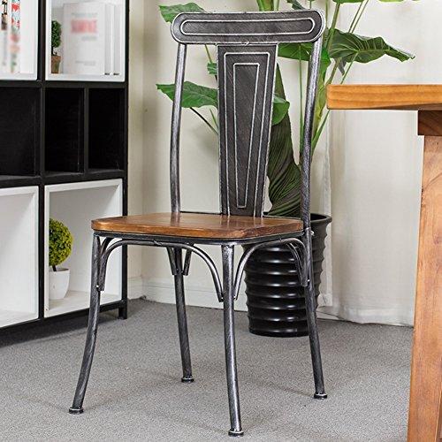 Sedie da pranzo seggiole sedia da sala poltrona casa in legno massello stile europeo retro ferro art tempo libero antiscivolo americano semplice pratico tingting (colore : silver)