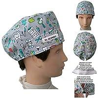 Cappelli del dentista Odontologo Strumentale dentale per i capelli corti. Assorbente sulla fronte Tenditore regolabile Personalizzato con nome in opzione