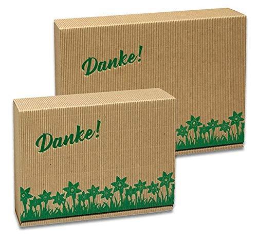 1 Verpackungseinheit (35 Stück) Geschenkkarton Sofia Flower Danke<br/> groß + Einlage<br/>natur + Flower Danke Prägung dunkelgrün<br/>255 x 180 x 70 mm
