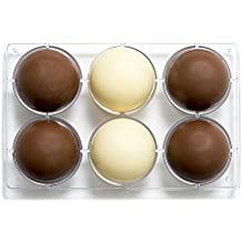 Decora molde de chocolate 1/2 de Esfera, de policarbonato, transparente, diámetro 75 mm, 275 x 15 x 22 mm