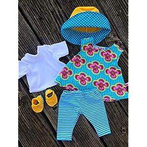 Puppenkleidung handmade Gr. 36-38 cm, Gr. 40-45 cm oder Gr. 46 -48 cm für z.B. my first Annabell Baby Born Chou Cookie Lolle Sommerset + Schuhe türkis & gelb NEU