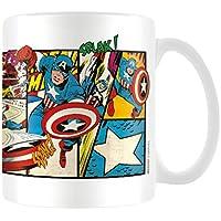 Marvel MG23437-Tazza in ceramica con strisce del fumetto Captain America retrò, 8 x 11,5 x 9,5 cm, colore: multicolore
