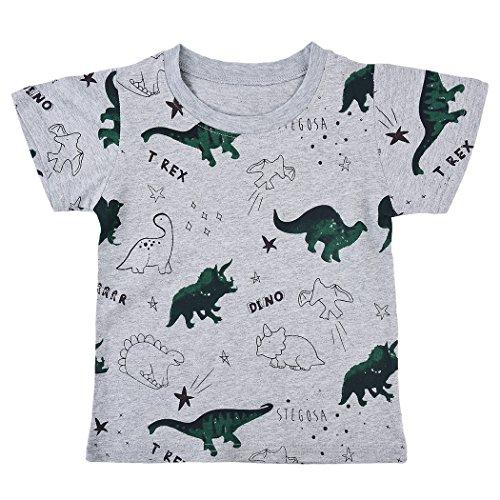 Tkria Kinder Jungen Grau Dinosaurier Baumwolle Langarm Shirts Pullover T-Shirt Top 2 - 9 Jahren (False Zwei Pullover)