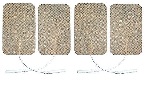 4electrodos adhesivos rectangulares de 5x 10cm para electroestimulador con hilo conector de pin de 2mm