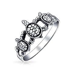 Idea Regalo - Amicizia Tre Migliori Amici Famiglia Tartaruga Di Mare Banda Ad Anello Per Teen Per Donne Argento Sterling 925 Ring