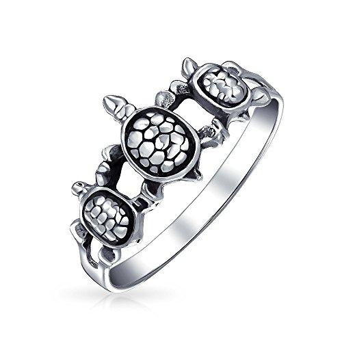 Die Freundschaft Der Drei Besten Freunde Familie Sea Turtle Ring Band Für Jugendlich Für Damen 925 Sterling Silber Ring - Sidekick 3 Bling