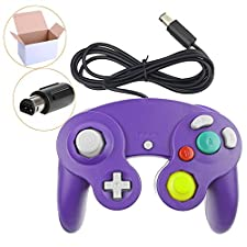 Poulep 1 Pack Classic Wired Gamepad joystick Controller Compatible for Wii Game Cube Gamecube (Purple)