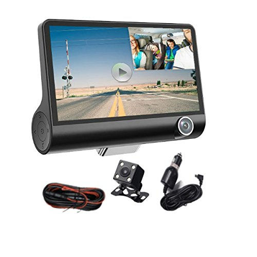 Hangang Auto Dash Cam - 1080P HD 3 Kanal Auto Dashbord Kamera, 140 Grad Weitwinkel Auto Recorder mit 4 'IPS-Display, G-Sensor, HDR, Loop Recording, Bewegungserkennung