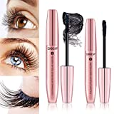 DDK 4D Mascara Kit Wimperntusche mit Fiber Set Makeup Wimpern Augenbrauenserum Wimpernverlängerung Wasserdicht schwarzer Länger Dicker Wimpern(Rosa Gold)