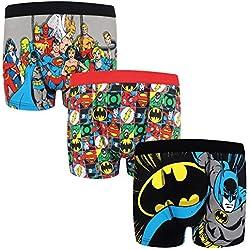DC Comics - Pack de 3 calzoncillos oficiales de estilo bóxer - Para niños - Batman, Superman - Multicolor - 5-6 años