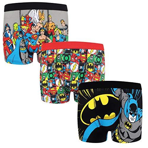 DC Comics - Pack de 3 calzoncillos oficiales de estilo bóxer - Para niños - Batman, Superman - Multicolor - 9-10 años