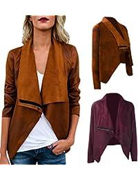 HKFV Superb Amazing Charming Cool Fashion Style Women New Long Sleeve Coat Zipper Windbreaker Suedette Short Outwear Open Front Jacket Keep Warm