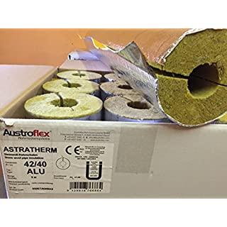 Austroflex Pipe insulation 42 x 40mm filled with Box 9m Content (4,75€/Meter) Pipe bowls foil-laminated Rock wool mineral wool Mineral fiber shell Isolation