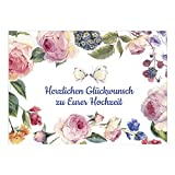 XXL Glückwunschkarte zur Hochzeit / DIN A4 / Vintage Blumen mit Text / mit Umschlag / Hochzeitskarte / Glückwunsch Karte