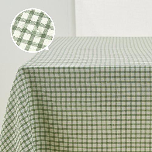 Deconovo Tovaglia Impermeabile antimacchia in Tessuto Lino con Motivo a Quatri Tovaglia Cerata Rettangolare per Tavolo 137x200cm Verde