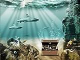wandmotiv24 Fototapete Unterwasser Schatz KT20 Größe: 400x280cm Tapete Fische Meer Hai