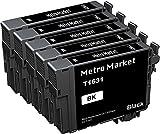 Metro Market 5 Schwarz für Epson 16 16XL Druckerpatronen Hohe Kapazität Kompatibel für Epson Workforce WF-2630WF WF-2760DWF WF-2660DWF WF-2510WF WF-2530WF WF-2540WF WF-2010W WF-2650DWF WF-2520NF