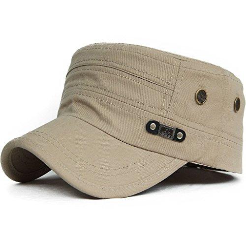 Kuyou Unisex Army Military Flat Cap Vintage Cotton Baseballmütze Kappe (007Beige) Cotton Flat Cap