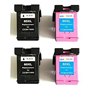 Bavvo - HP 60XL Compatible Cartouches d'encre HP ENVY 114 (2 Noir/2 Tri-Colour)