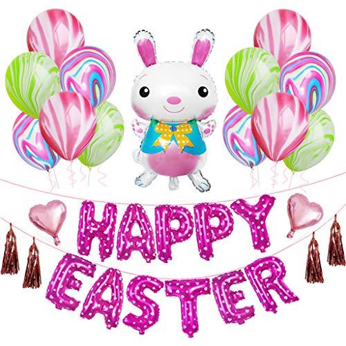 Fröhliche Ostern Kaninchen Ballons Aluminium Mylar Dekorative Ballons für Ostern Fest Malloom