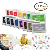 CCINEE 15 Colors Ink Pads - For Use with any Rubber Art/Craft Stamps