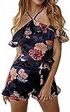 ECOWISH Damen Sexy Kurz Jumpsuit Blumen Rüschen Strand Overall Träger Hosenanzug Playsuit mit Gürtel Schwarz L