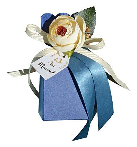 50pieces Babydusche Band Bevorzugungsgeschenk Konfektschachteln Hochzeit Bevorzugungen und Geschenke für die Hochzeit (blau) Thema (Für Hochzeit Personalisiert Bevorzugungen Band)