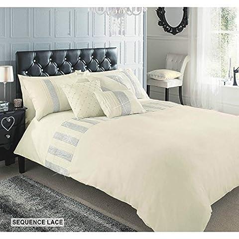 Parure de lit luxueuse en coton de qualité supérieure à sequins brillants, crème, Double
