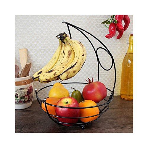 Disha Powder Coated Fruit Basket, 10X10X13.7, Black