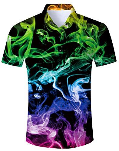 Idgreatim Herren Hawaiian Hemd Hemden Shirt Button Down Kurzarm gedruckt Hund Retro 90er Jahre stilvolle Herren Freizeit Hemden Shirts (Jahre Mode 90er Männer Für)