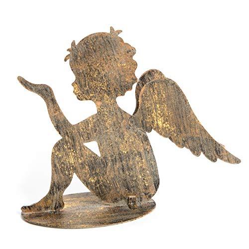 Logbuch-Verlag Metallengel Engel Figur sitzend Gold bronzefarben 13 cm Engelsflügel Weihnachtsdeko Tischdeko Deko Weihnachten