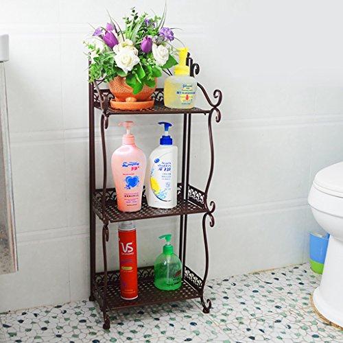 Multifunktionale Badezimmer Küche Schmiedeeisen Regal Regal Regal Regal Platzsparende Bücherregal Schuhregal Blumenständer (Farbe : Braun, größe : 33*22*70cm) (Regal-land Bücherregal 5)