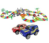 #7: Rose International Kids Fun Car Flexible Variable Track Set 257 Pcs LED Light Battery Operated Racing Game Set