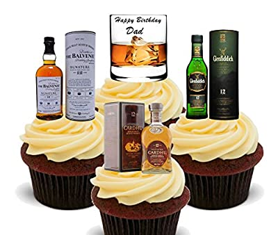 Happy Birthday Dad, Whisky Lover Edible Cake Decorations - Stand-up Wafer Cupcake Toppers