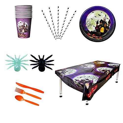 Halloween-Geschirr, Festliche Einweg-Geschirr-Dekoration, Set Von 79, Einweg-Schloss Papier Platte Platte Tablecloth ()