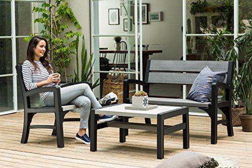Keter Lounge Sofa, Montero Gartenbank, 2-Sitzer, graphit/braungraue Rattan  Gartenbank - 5