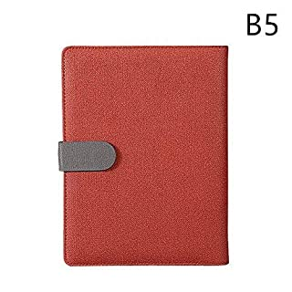 Lvcky 1Pc B5 Refillable Leather Notebook Journal 9 Holes Diary Binder Planner with Magnetic Buckle Pen Holder Office Travel Gift Wine Red